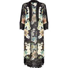 Black floral longline victoriana kimono $80.00
