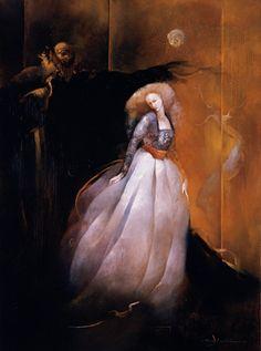Anne Bachelier - Original Oil on Paper Illustration from Phantom of the Opera - Christine & Erik