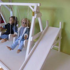 DOLL PLAYGROUND Handmade Swing Set ~ SeeSaw ~ Slide Combination Playground Set