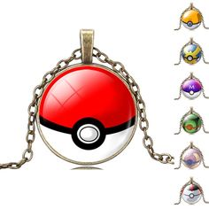 Pokemon Pokeball Bronze Necklace With Pendant //Price: $ 7.95 & FREE shipping //