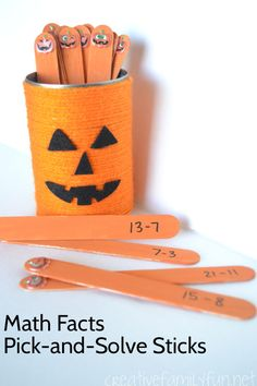 Pumpkin Math Facts Pick-and-Solve Sticks - it's a fun way to practice math with a Halloween twist!