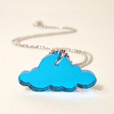 Happy Little Cloud Mirror Blue Laser Cut Charm by blacktulipshop, $6.50  #cloud #etsy #necklace #kawaii