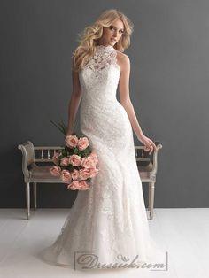 Sheer High Neckline Lace Sheath Wedding Dresses