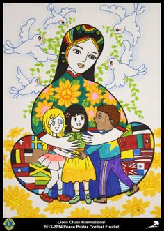 Finalist from China (Qingdao Heping Lions Club) - Peace Poster Contest Art Drawings For Kids, Drawing For Kids, Painting For Kids, Art For Kids, Peace Drawing, Peace Poster, Group Art Projects, Oil Pastel Drawings, Water Drawing