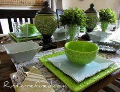 Summer Blues & Greens Tablescape