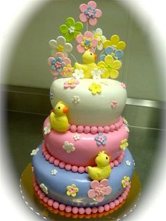 Baby duck cake. Very cute for a baby shower!