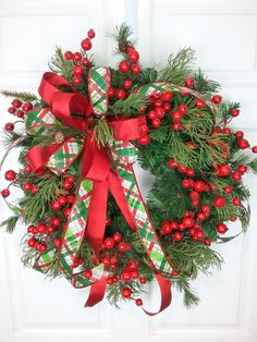 Christmas Wreath, Holiday Wreath, Winter Wreath, Christmas Wreath with Berries by HeatherKnollDesigns on Etsy