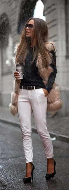 Faux Furry Oversized Vest +  White Pant / Best LoLus Street Fashion