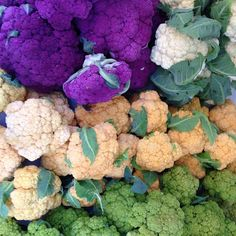 Rainbow of #cauliflower #farmersmarketnyc - Union Square Greenmarket in #Manhattan via unsqgreenmarket on Instagram