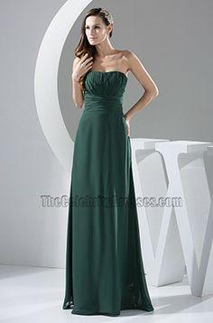 Dark Green Strapless Chiffon Floor Length Prom Gown Evening Dress