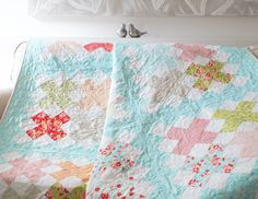 Layer Cake Quilt- Digital pattern available on Etsy- Gigi's Thimble Cross Stitch Quilt in Miss Kate by Bonnie & Camille