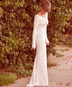 Plain, white dress with long-sleeves