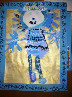 Roi réalisé avec des tons de bleus, du doré. Inspiré des peintures de Klimmt; Janvier 2009