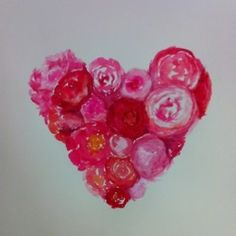 peony heart (watercolor on paper) #Valentine