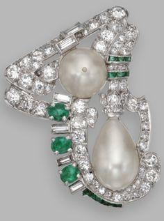 Platinum, Natural Pearl, Diamond and Emerald Brooch, Circa 1935
