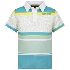 Roberto Cavalli Boys Green Striped Polo Top