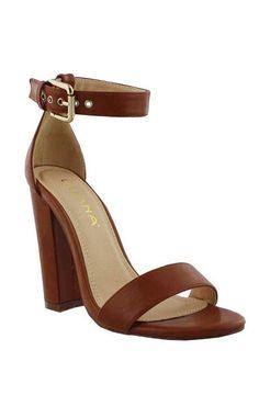 Farrah Ankle Strap Heels - Congac