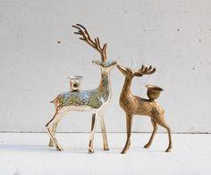 Vintage Silver & Gold DEER Candle Holders Brass Stag Silver Deer Woodland Forest Holiday Decor