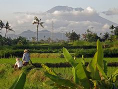 Mount Agung, the highest volcano on Bali dominates the island.