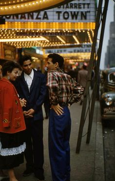 Ruth Orkin's early color photography: Three People on the Street, ca 1951