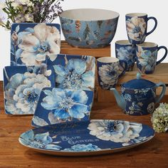 Square Dinnerware Set, Dinnerware Sets, Floor Care, Ceramic Teapots, All Toys, Serveware, Tableware, Shades Of Blue, House Warming