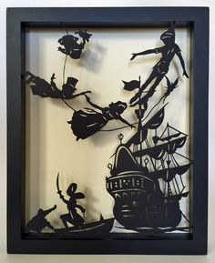 PETER PAN Papercut in Shadow Box - Hand-Cut Silhouette, Framed Hey, I found this really awesome Etsy Shadow Box Kunst, Shadow Box Art, Silhouette Frames, Silhouette Art, Peter Pan Silhouette, Paper Cutting, 3d Cuts, Pop Up Karten, Peter Pan Nursery