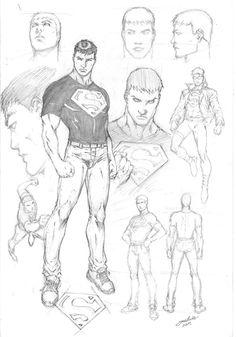Drawing Superhero Superboy Character Study by comiconart - Comic Book Artists, Comic Artist, Comic Books Art, Superhero Sketches, Drawing Superheroes, Comic Drawing, Cartoon Drawings, Character Drawing, Character Design