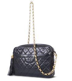 Chanel Black Lambskin Tassel Shoulder Bag Vintage