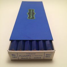 This is a deluxe box of blue colored pencils.  An exquisite level of packaging