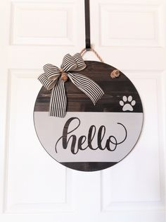 crafts christmas crafts diy crafts hobbies crafts ideas crafts to sell crafts wooden signs Wooden Door Signs, Front Door Signs, Wooden Door Hangers, Front Door Decor, Wooden Doors, Porch Signs, Hello Sign, Dog Christmas Gifts, Classic Doors