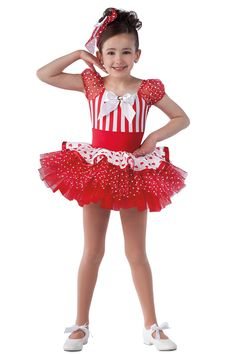15182 Love You Lots | Kids Showcase / First Performance / Dance Costumes / Recital Wear | Dansco 2015 | Red/white striped and solid red spandex leotard with red missy dot sleeves and attached heart printed sateen top skirt. Separate red missy dot over chiffon tutu. Jeweled white bow on pin and red ribbon trim. Headpiece included.