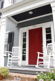 I have always wanted a red front door. Going to paint our shed door red this weekend. This is my compromise with my hubby who doesnt want to paint our stained wood front door. Well see if I can convince him. Front Door Paint Colors, Exterior Paint Colors For House, Front Door Design, Paint Colors For Home, Black Front Doors, Wood Front Doors, Painted Front Doors, Red Door House, House Front Door