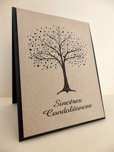 handmade sympathy card from Le Scrap de Vava: Sinceres Condoleances: Dynamic Duos #71 ... kraft with black ... clean and simple ... tree and sentiment ...