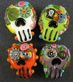 Sugar Skull Halloween Day of the Dead Set 6 Lampwork Beads  -  Palmtree Queen