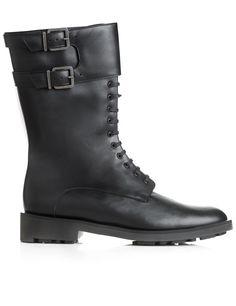Black Leather Estar Combat Boots | Robert Clergerie | Avenue32
