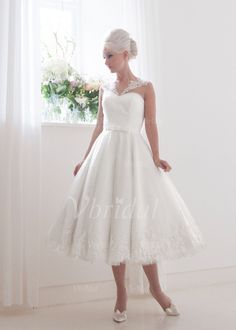 Wedding Dresses - $131.55 - A-Line/Princess V-neck Tea-Length Satin Tulle Wedding Dress With Lace Bow(s) (0025088668)