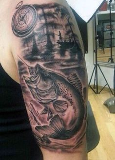 Big black and white fishing themed half sleeve tattoo - Tattooimages ...