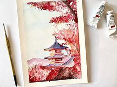 Watercolor Painting Techniques, Watercolor Sketchbook, Watercolor Projects, Watercolor Illustration, Watercolor Paintings, Japan Watercolor, Watercolour, Japan Painting, Plant Painting