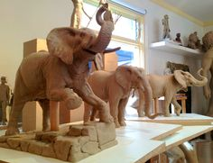 Jumbo The Elephant three early studies for the lifesize statue of Jumbo for Tufts University - Bronze Figurative sculpture by sculptor Steven Whyte, Carmel, California. Www.facebook.com/stevenwhytecarmel