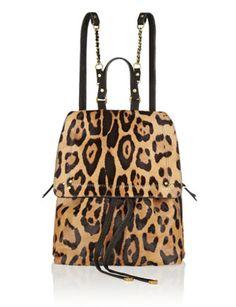 JEROME DREYFUSS Florent Leopard Print Calf Hair Backpack
