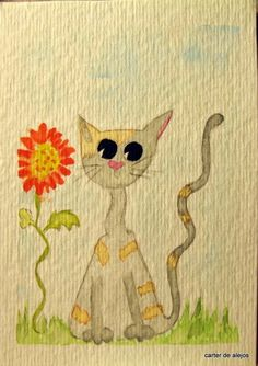 CLIFFORD THE KOOL CAT ACEO original watercolor FREE SHIPPING