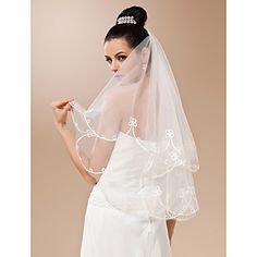 One-tier Tulle With Applique Fingertip Length Veil (More Colors) – USD $ 14.99