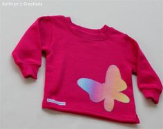 Hot Pink Fleece Jumper with Butterfly Applique