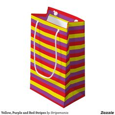 Yellow, Purple and Red Stripes Small Gift Bag
