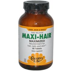 Country Life, Gluten Free, Maxi-Hair, Time Release, 90 Tablets