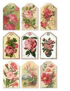 Etiquetas rosas vintage