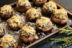 Mashed Potato and Wild Rice Stuffed Mushrooms by Brenda (The Pioneer Woman) Frozen Bread Dough, Steaks, Compound Butter, Stuffed Mushrooms, Stuffed Peppers, Thanksgiving Side Dishes, Vegetarian Thanksgiving, Thanksgiving Recipes, Wild Rice