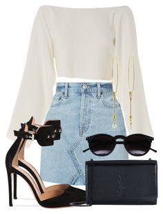 A fashion look from September 2017 featuring CÉLINE tops, RE/DONE mini skirts and Gianvito Rossi pumps. Browse and shop related looks. Mode Outfits, Fashion Outfits, Womens Fashion, Classy Outfits, Stylish Outfits, Fancy Casual Outfits, Look Fashion, Korean Fashion, Mode Rockabilly