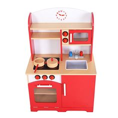 Giantex Wood Kitchen Toy Kids Cooking Pretend Play Set Toddler Wooden Playset red - Cool Kitchen Gifts