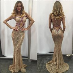 Bead Crystal Mermaid Long Formal Evening Dress Celebrity Pageant Party Prom Gown